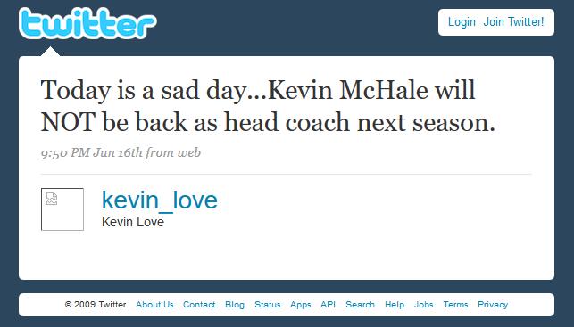 Screenshot: Kevin Love tweet's Kevin McHale's dismissal
